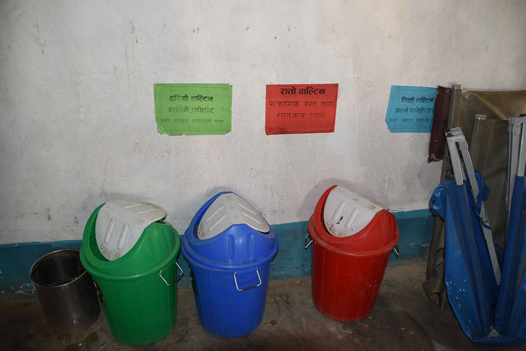 Waste separation at the hospital in Simikot, Humla, Nepal.